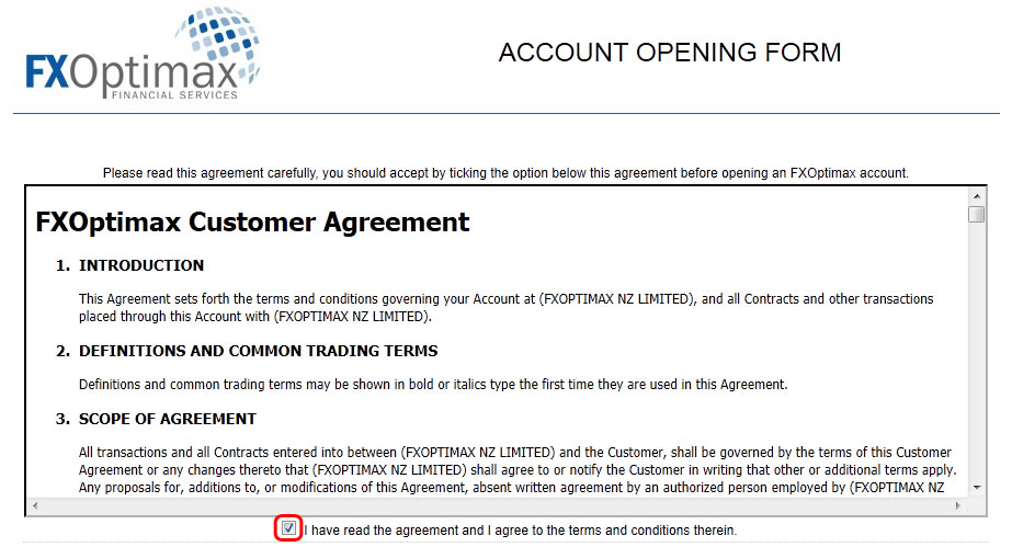 FXOptimax Customer Agreement
