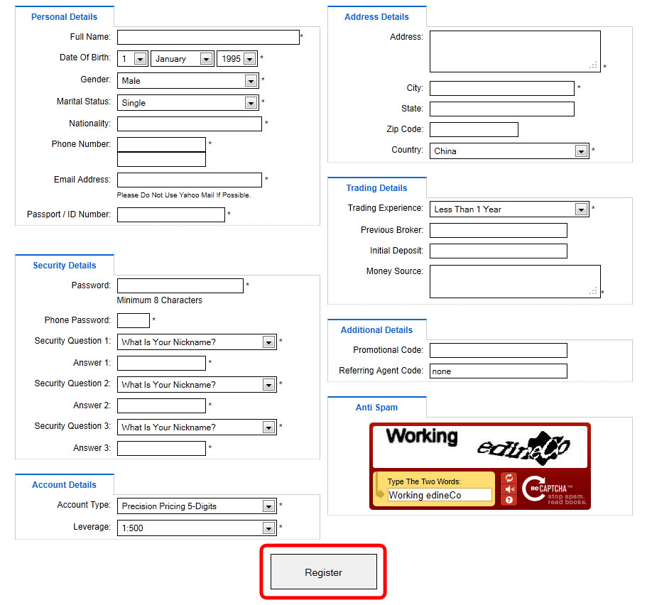 FXOptimax Registration Form